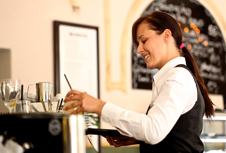 server making drinks